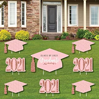 product image for Big Dot of Happiness Rose Gold Grad - Yard Sign and Outdoor Lawn Decorations - 2021 Graduation Party Yard Signs - Set of 8