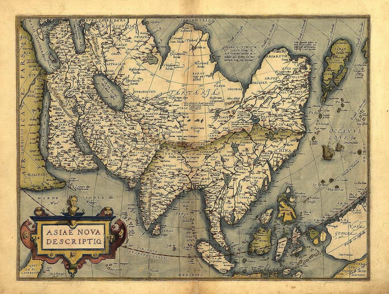 Riproduzione mappa antica di Asia, (India, North Africa, West Pacific, New Guinea) by Abraham Ortelius A1misura 78x 57cm OFA Mapping