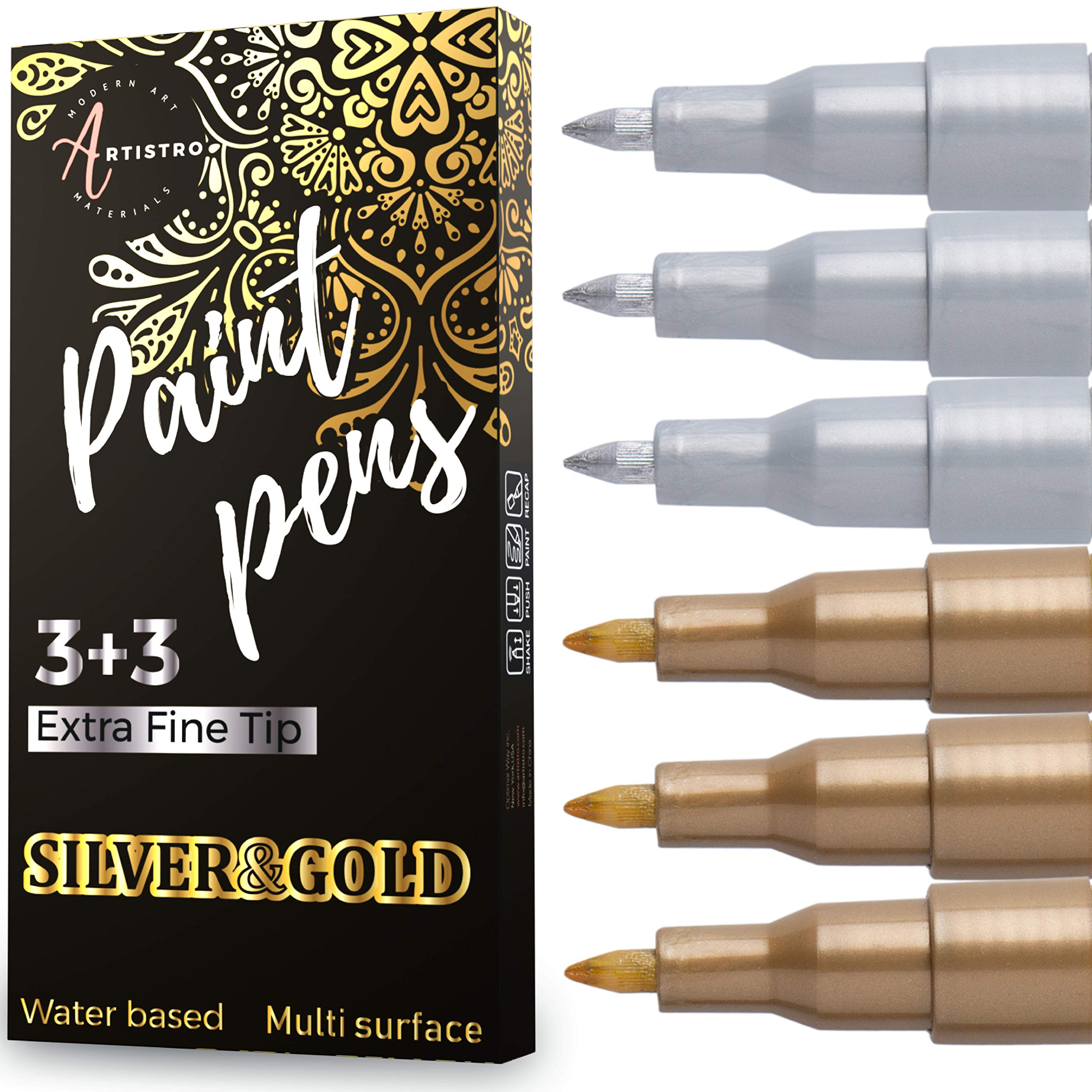 Paint Pens for Rock Painting, Stone, Ceramic, Wine Glass, Wood, Fabric, Canvas, Metal, Scrapbooking. (6 Pack) Set of 3 Gold & 3 Silver Acrylic Paint Markers Extra-Fine Tip 0.7mm by ARTISTRO