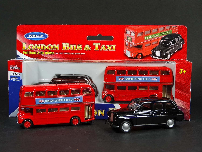 azione back /& go // giocatoli mini modelli in metallo pressofuso e parti in plastica My London Souvenirs Bus londinese rosso a due piani e taxi nero