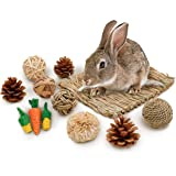 JanYoo 12 Pcs Bunny Accessories for Rabbit Supplies Natural Chew Toys Ball Guinea Pig Hamster Bedding Small Animal Treats Cag