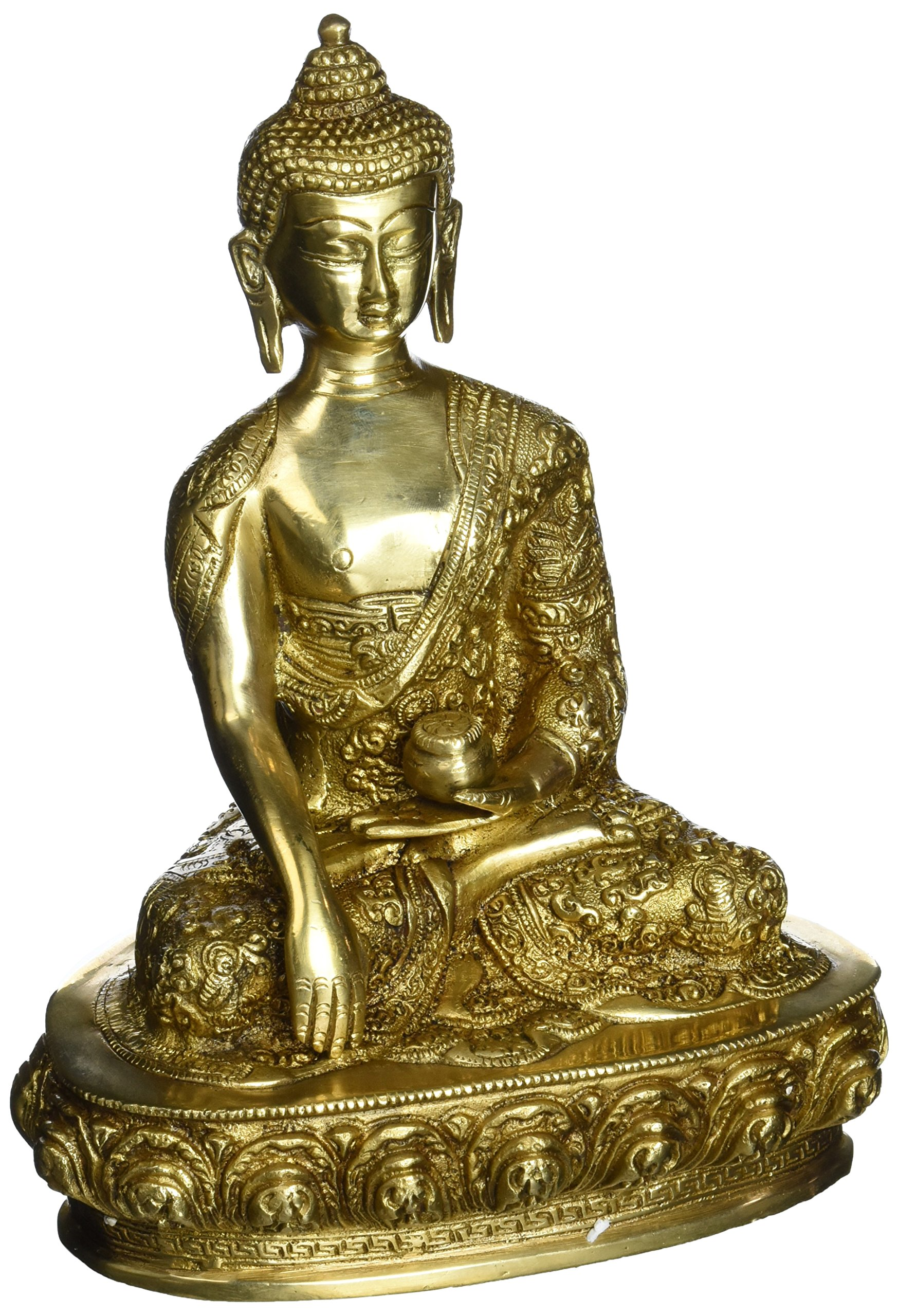 Indian Art Hindu Religious Statue Brass Handmade Sculpture of Lord Buddha 9 Inch 2.5 Kg
