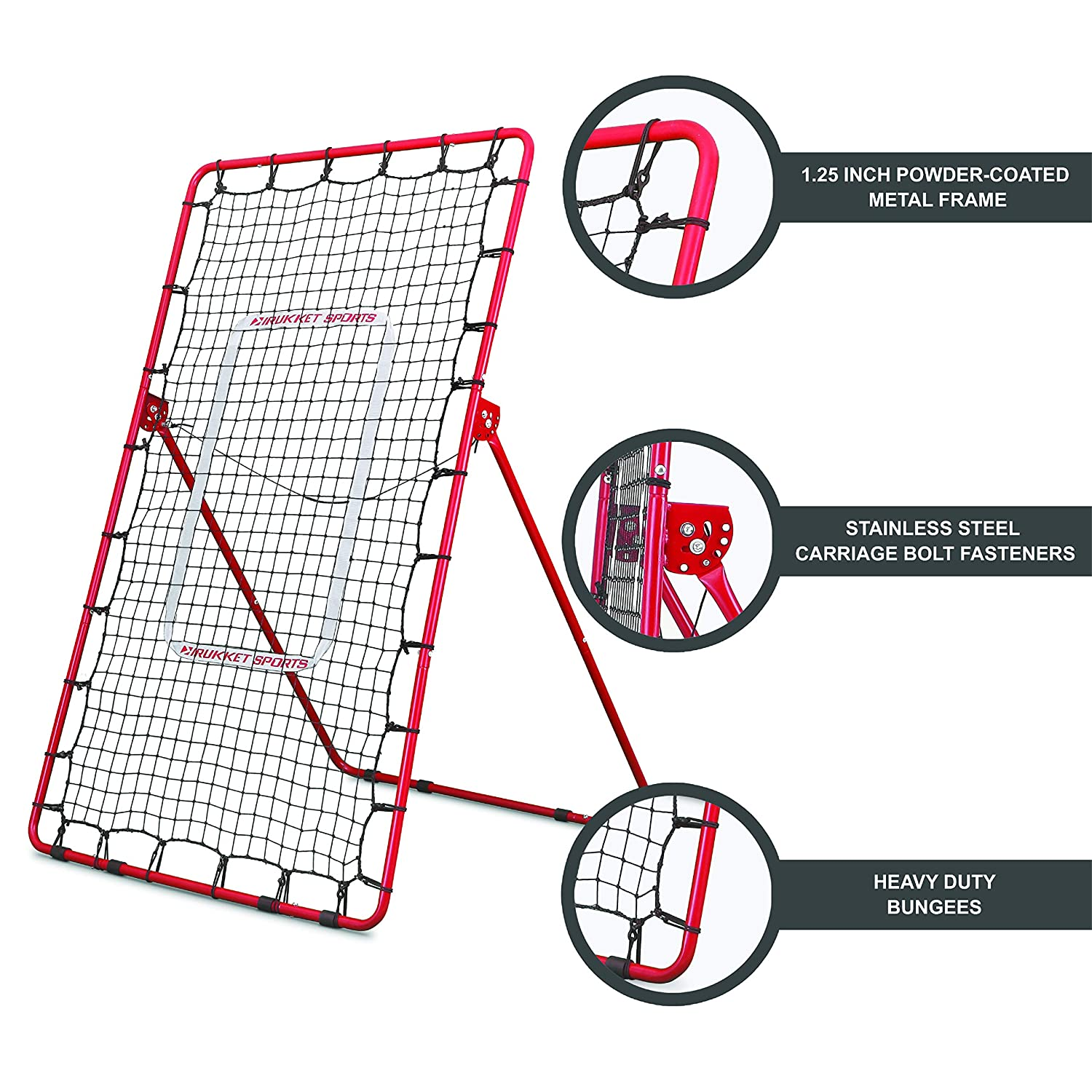 Rukket Pitch Back Baseball//Softball Rebounder Pitching and Throwing Practice Partner Adjustable Angle Pitchback Trainer