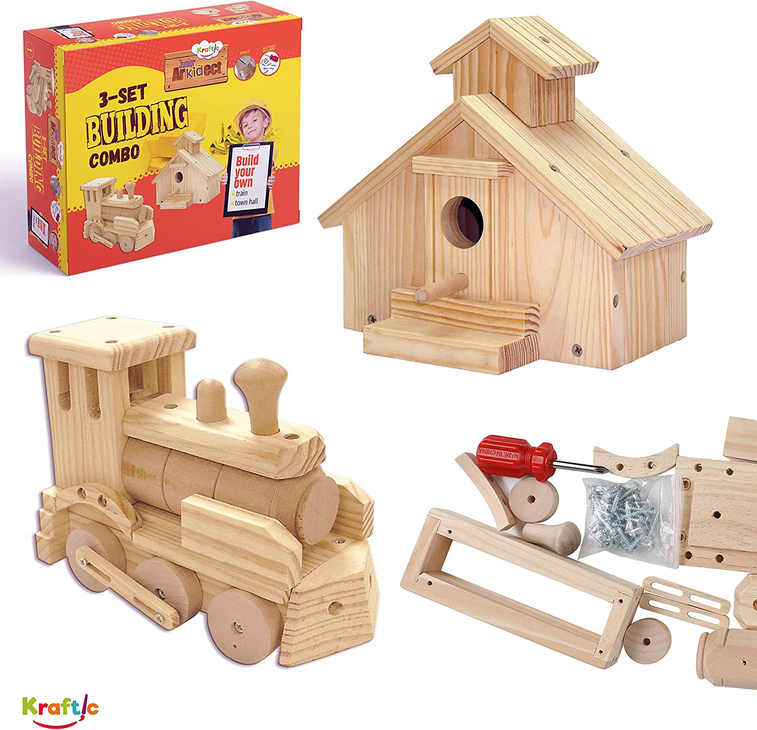Kraftic Woodworking Building Kit For Kids With 2 Diy Carpentry Wood Toy Projects Town Hall And Train Wood Amazon Canada