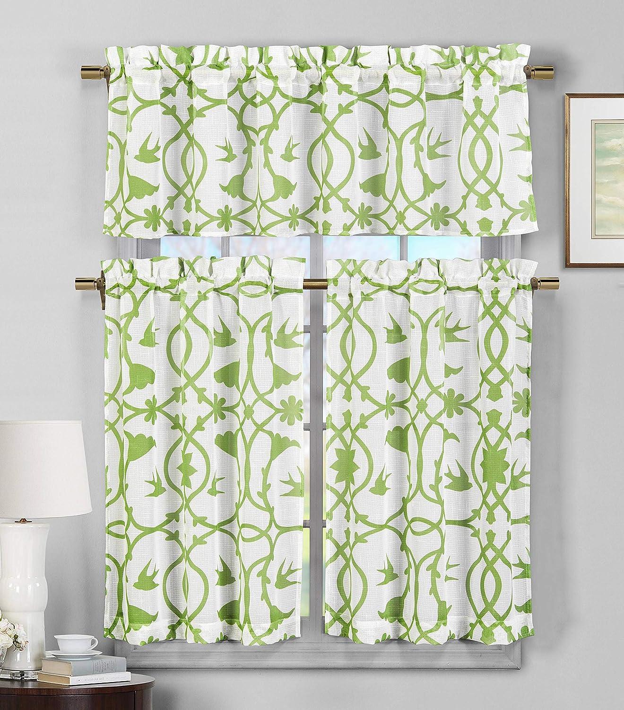 Duck River Textile Dawn Geometric Kitchen Curtain & Tier Set, 58x15 (1 Piece) 29x36 (2 Pieces), Apple Green