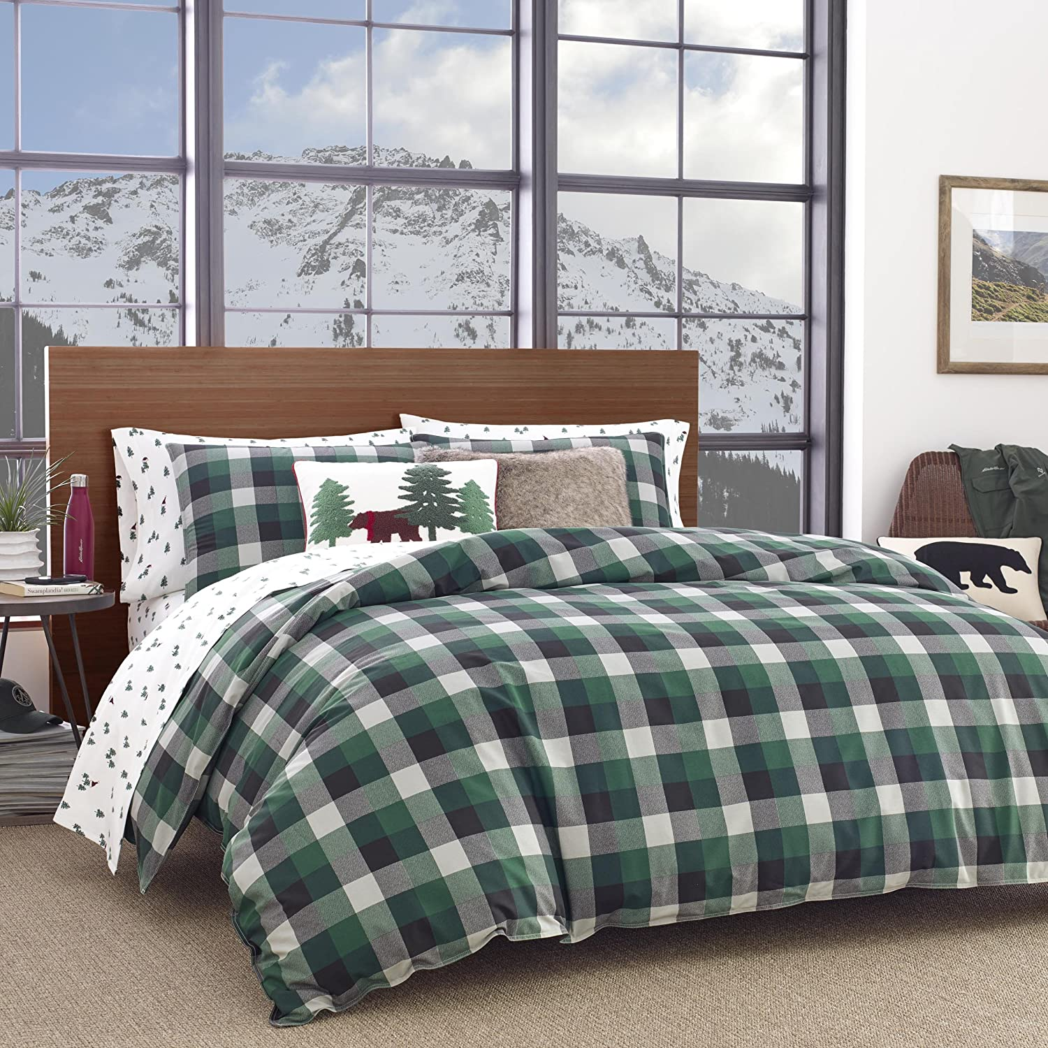 Eddie Bauer Birch Cove Plaid Comforter Set, King, Dark Green