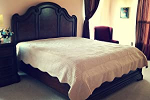Tache Home Fashion DXJ109013-1K 5 Piece Calming Coral Reef Bedspread Quilt Set, King, Beige