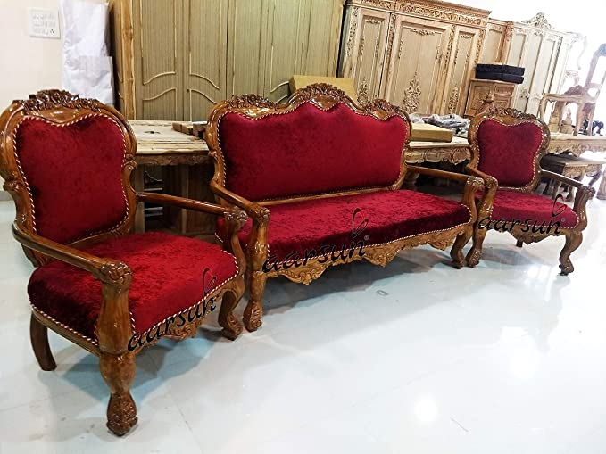 Aarsun Standard Luxury Sofa Set 5 Seater Solid Teak Wood Glossy Finish Amazon In Home Kitchen