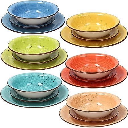 Piatti In Ceramica Prezzi.Tognana Servizio Tavola 18 Pezzi Art Pepper Stoneware Multicolore Amazon It Casa E Cucina