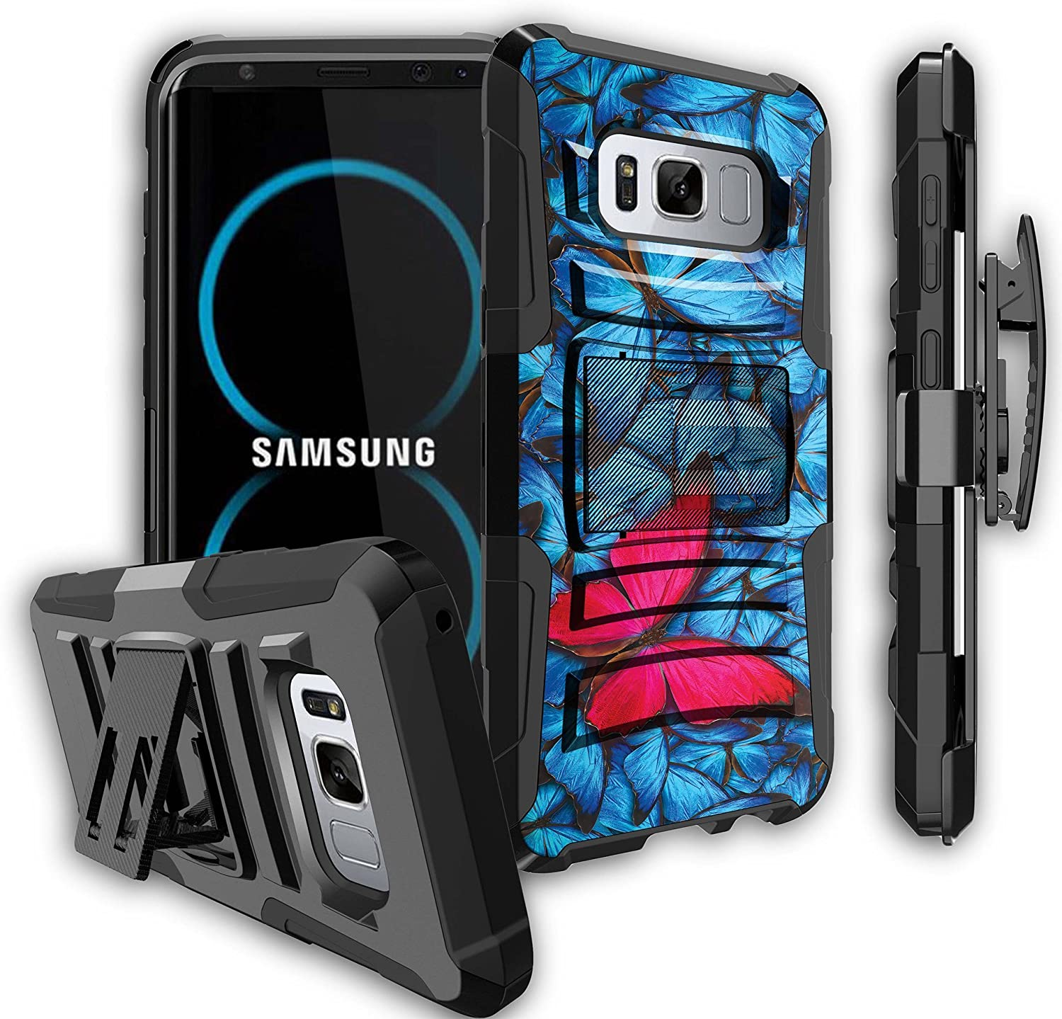 Heavy Duty Clip Red Fire Dragon - Shockproof Swivel Holster Case with Built in Kickstand Untouchble Case for Samsung Galaxy S8 Plus Case Samsung Galaxy S8 Plus Dragon Holster Case