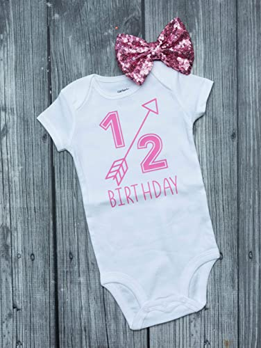 b1fcc1f92c914 Amazon.com  1 2 birthday bodysuit - half birthday - girls bodysuit ...