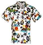 c99518e8a Funny Guy Mugs Mens Bigfoot Hawaiian Print Button Down Short Sleeve Shirt,  Medium