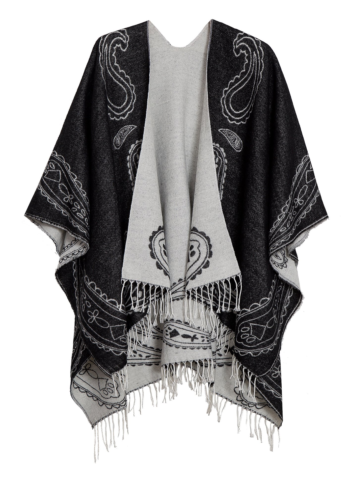 Urban CoCo Women's Printed Tassel Open front Poncho Cape Cardigan Wrap Shawl (Series 6-black)