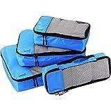 AmazonBasics Packing Cubes - Small, Medium, Large, and Slim, Blue (4-Piece Set)