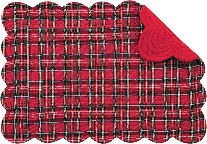 C&F Home Red Plaid Cotton Quilted Oblong Rectangular Cotton Quilted Cotton Reversible Machine Washable Placemat Set of 6 Rectangular Placemat Set of 6 Red