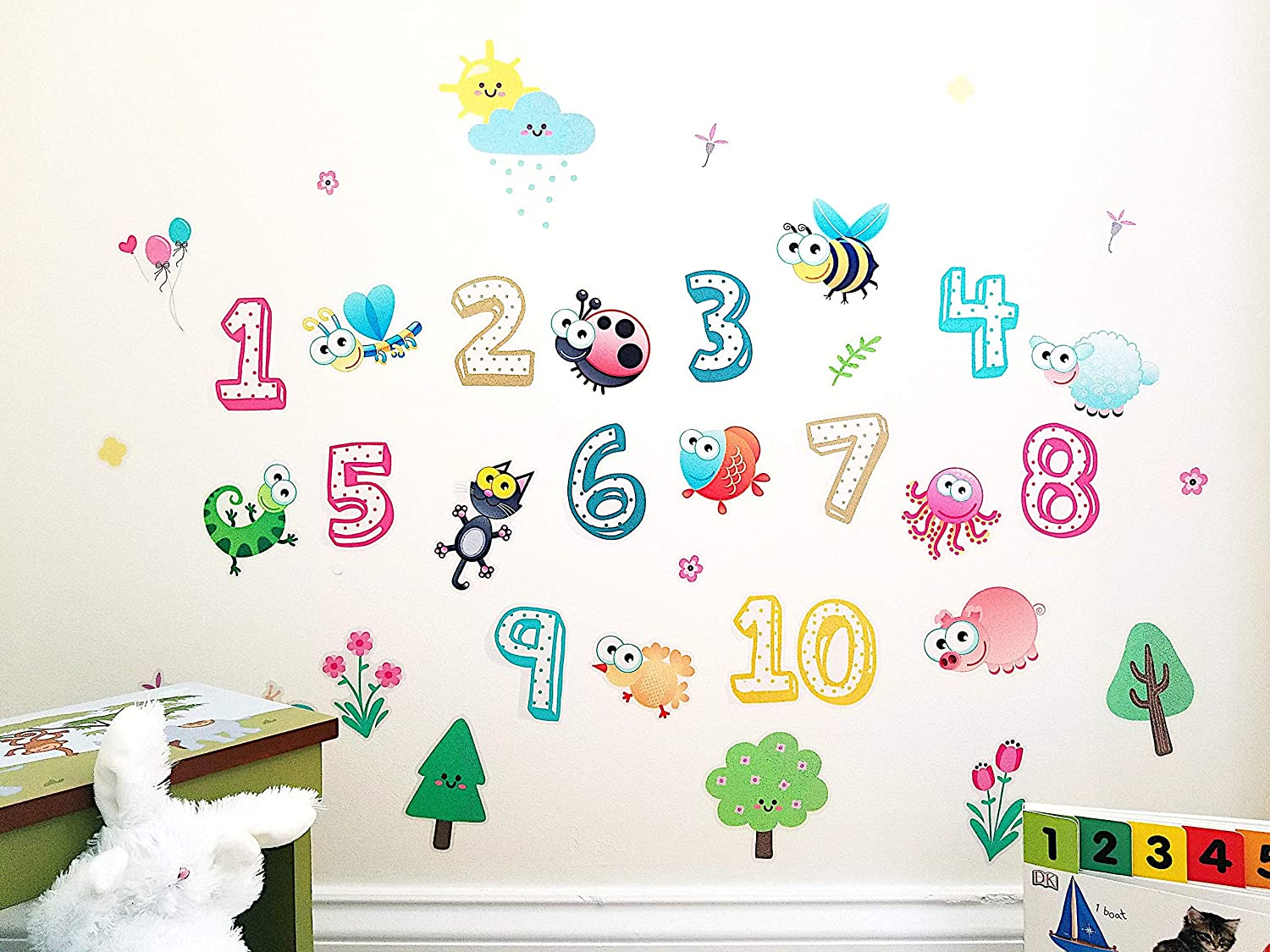 Numbers Three Kids Wall Decor Wall Decals Stickers for Nursery Solar System Planets Animals Removable and Waterproof Peel and Stick Vinyl Wall Decor for Bedroom Nursery Living Room 3D Learning LLF Insects