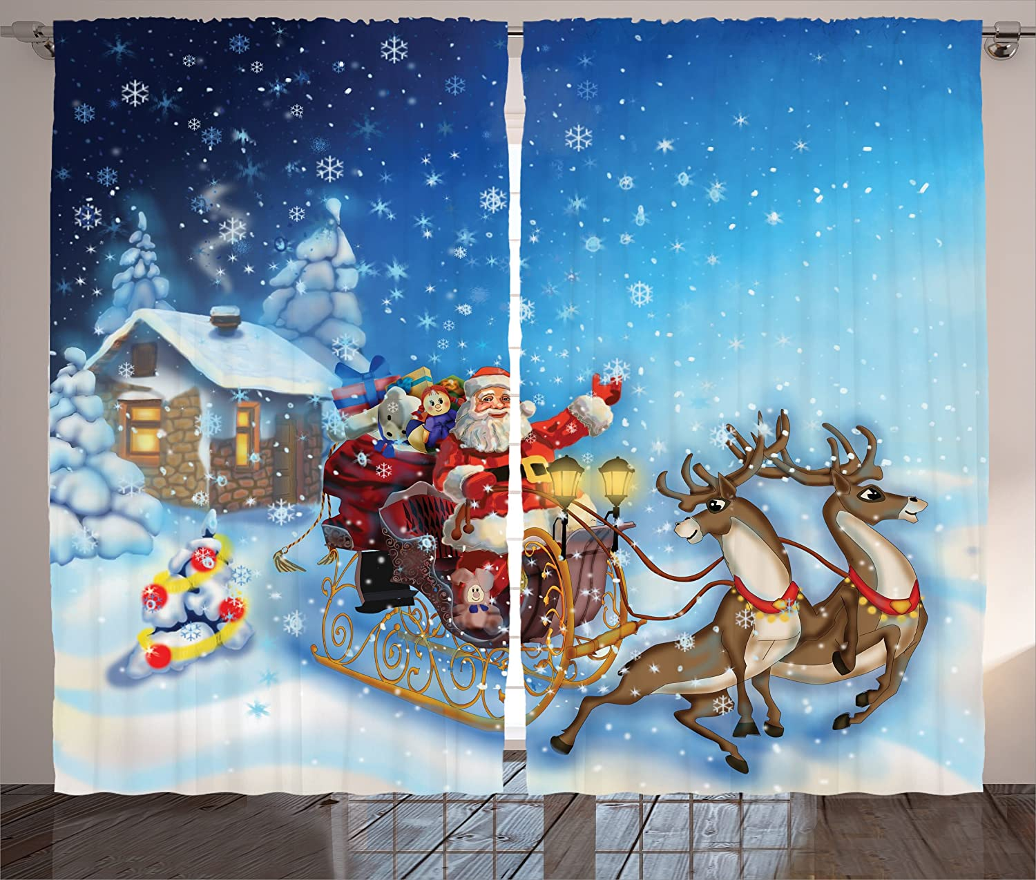 Amazon Com Ambesonne Christmas Curtains Santa In Sleigh Reindeer And Toys Snowy North Pole Tale Fantasy Image Living Room Bedroom Window Drapes 2 Panel Set 108 X 90 Navy Blue Home Kitchen