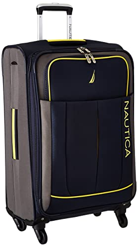 Nautica Fairwind 24 Inch Expandable Spinner, Classic Navy/Grey/Butter Cup, One Size