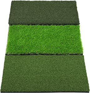 SkyLife 3-Turf Golf Hitting Grass Mat, Portable Training Fairway Rough TEE Turf, Driving Chipping Putting Golf Equipment, Home Backyard Garage Outdoor Practice