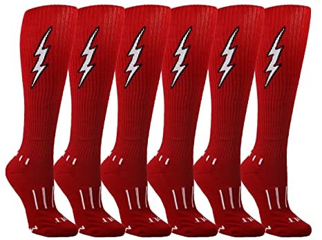 3e2945963 Amazon.com   MOXY Socks 6-Pack Youth Red with Black Knee-High Insane ...