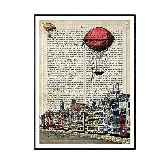 Nacnic Lámina Ciudad de ALBACETE. Estilo Vintage. Ilustración, fotografía y Collage con la Historia DE ALBACETE. Poster tamaño A4 Impreso en Papel