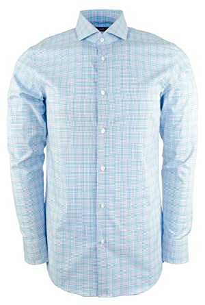 ae147c4f Amazon.com: Hugo Boss Men's Mark Sharp Fit Plaid Check Dress Shirt ...
