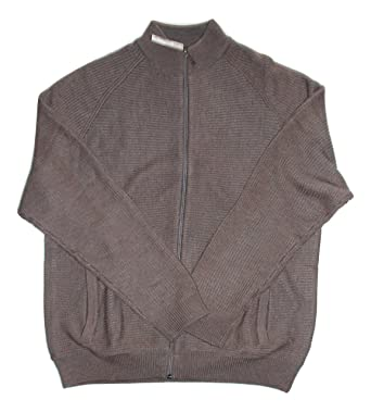 aeb7ef6f5a Amazon.com: Joseph Abboud Taupe Full-Zip Sweater, Brown: Clothing