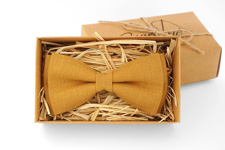 Mustard bow tie for wedding - Mustard necktie Linen tie Wedding bow tie bow tie for Men skinny tie Bow Tie For Groomsmen
