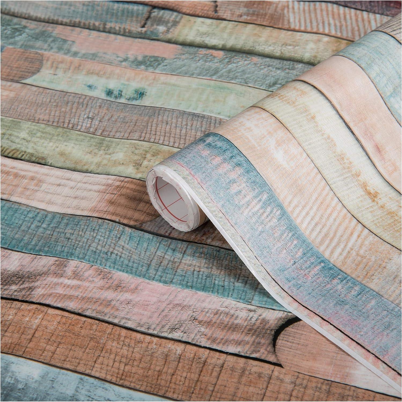 D-C-Fix Rio Distressed Wood Effect Self Adhesive Film 1.5 M x 45cm Pink Blue