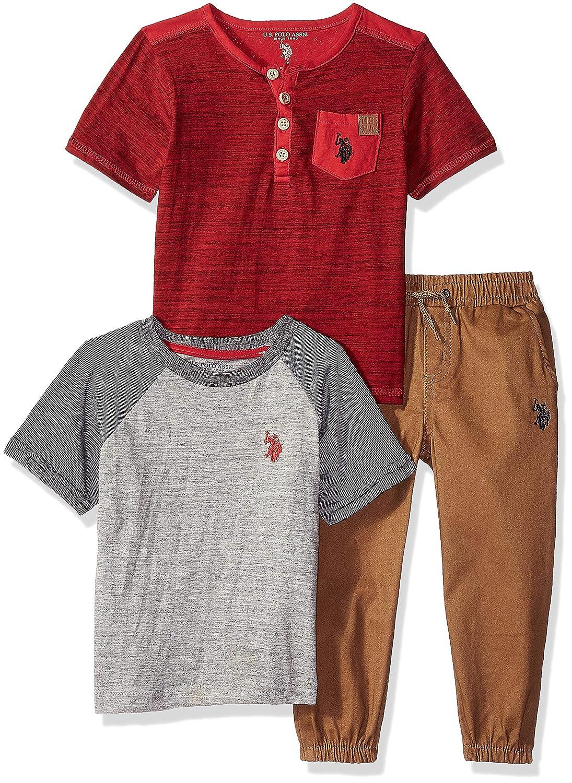 U.S. Polo Assn. Boys Toddler T-Shirt and Pant 3 Piece Set, Khaki ...