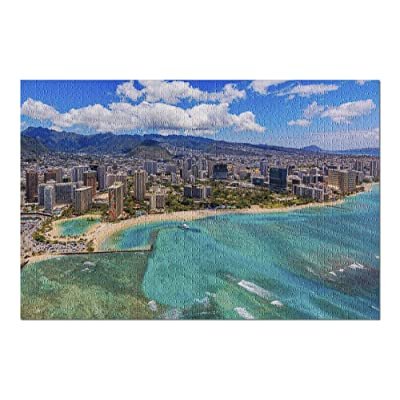 Honolulu, Hawaii - Aerial View of Waikiki Beach 9031675 (Premium 1000 Piece Jigsaw Puzzle for Adults, 20x30, Made in USA!): Toys & Games
