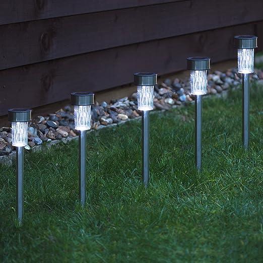 Babz - Faroles solares para jardín (acero inoxidable, 10 unidades): Amazon.es: Jardín