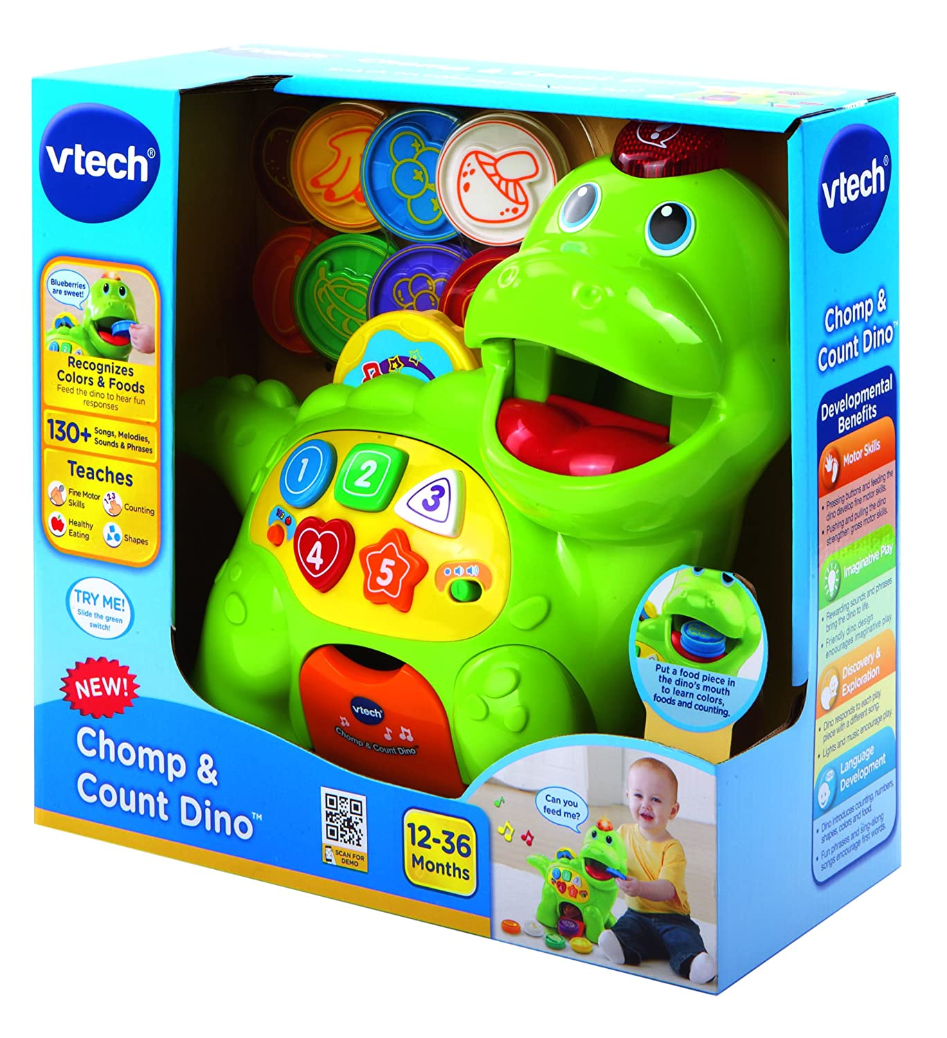 VTech Baby Feed Me Dino Toy Green VTech Baby Amazon