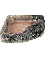 Acuami bol d'angle pour terrarium – gamelle, bol d'eau, bol à nourriture pour les reptiles, les geckos, les tortues, les serpents - accessoires terraristiques (XL Roche 20x19,5x4,5)