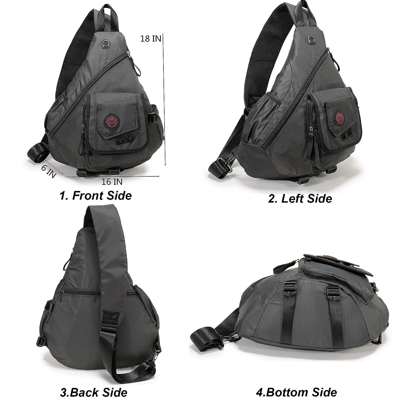 "DDDH 14-15.6"" Large Sling Backpack Sling Chest Pack Shoulder Crossbody Backpack Book Bag for Outdoor Camping Hiking Man Women"