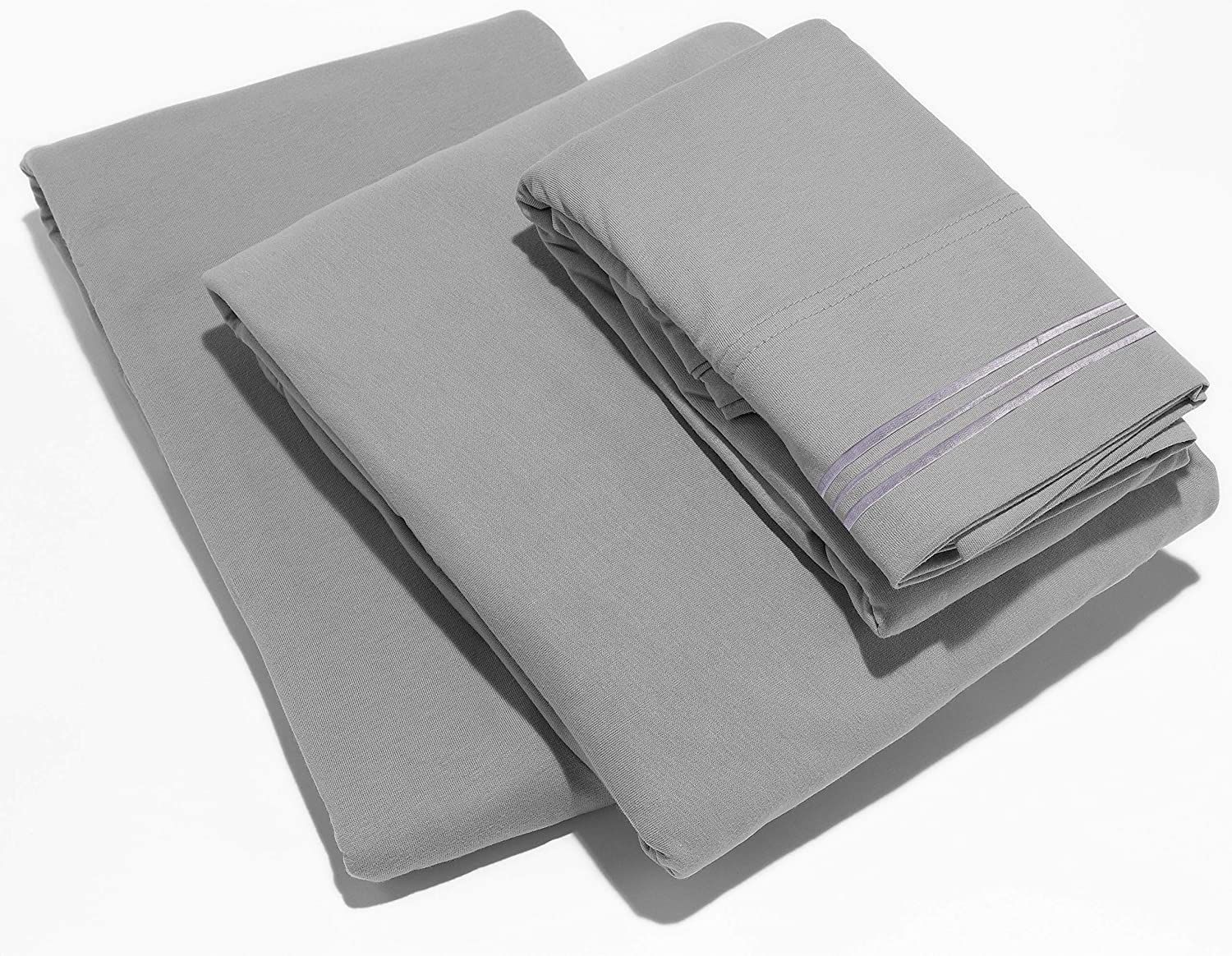 Lux Decor Collection Bedsheet Set - Brushed Microfiber 1800 Thread Count Bedding - Wrinkle, Stain and Fade Resistant - Hypoallergenic Luxury Plain Sheets- 4 Piece (Queen Size, Grey-Gray)