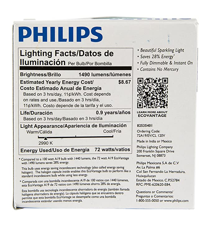Philips 429241 72W=100W Halogen Clear Dimmable Bulbs 2 Pack x 2 - - Amazon.com