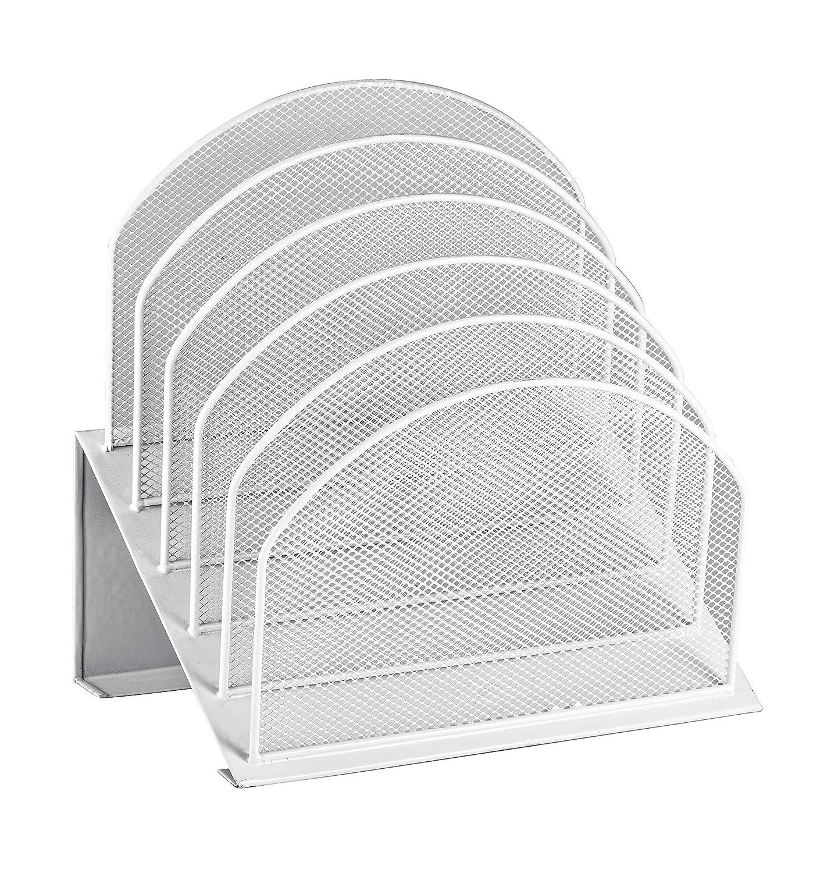 AdirOffice Mesh 5 Slot Section Desk Organizer Sorter - Desktop Incline Caddy (White)