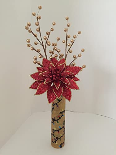 Amazon Gold Bud Vase With Christmas Lights Handmade