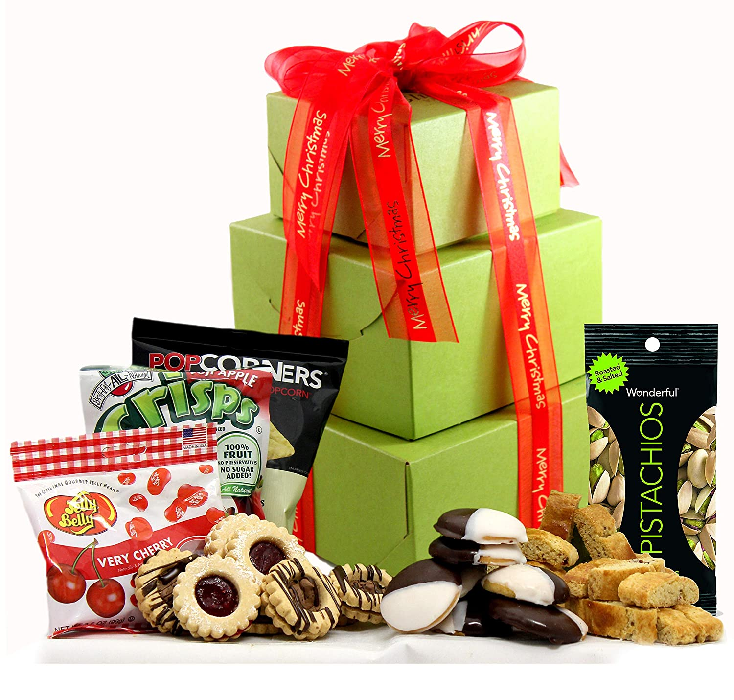 Merry Christmas Gift Tower Gluten Free - Deluxe Holiday Gift Tower with Gourmet Biscotti, Cookies, Popcorn, Sweets, Fruit & Nuts, Prime Holiday Gift Basket by Gluten Free Palace