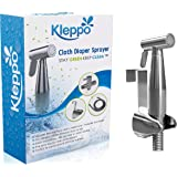 Kleppo Cloth Diaper Toilet Sprayer Kit Bundle with Brass Sprayer Head, Metal Hose, (7/8-Inch) T-Valve and Mounting Clip Attachment Adapter