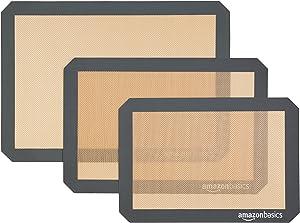 AmazonBasics Silicone, Non-Stick, Food Safe Baking Mat - Pack of 3