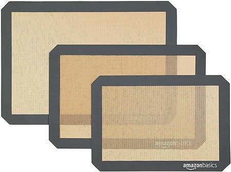 AmazonBasics - Tapete de silicona para hornear, juego de 3 ...