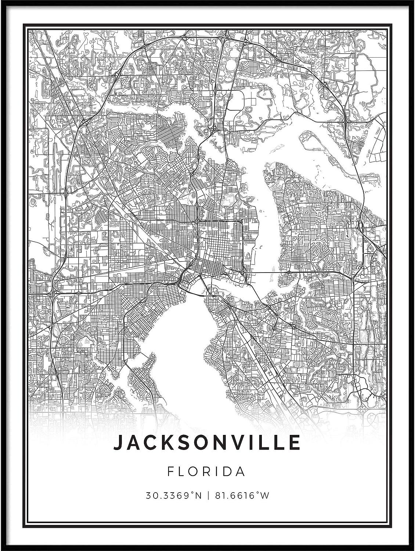 Squareious Jacksonville map Poster Print   Modern Black and White Wall Art   Scandinavian Home Decor   Florida City Prints Artwork   Fine Art Posters 11x14