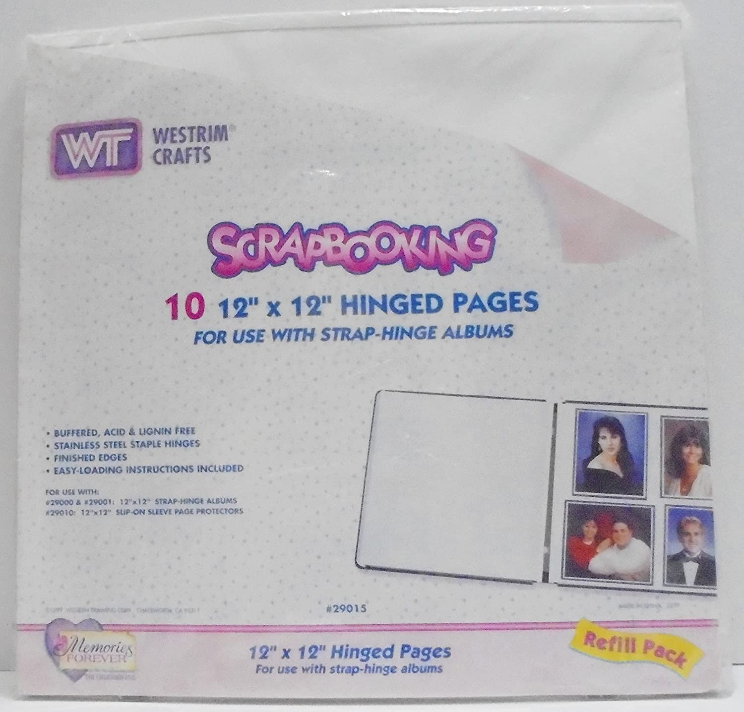 Strap Hinge Refill Pages 12x12-white 10//pkg