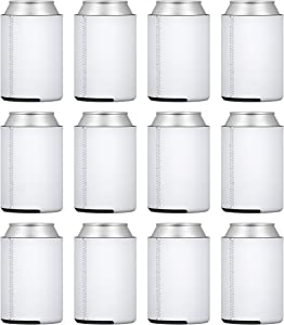TahoeBay 12 Neoprene Can Sleeves for Standard 12 Ounce Cans Blank Beer Coolers (White, 12)