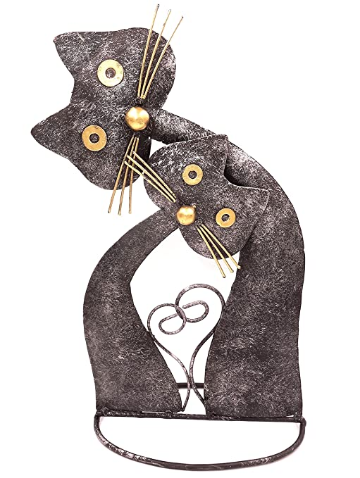 ZEN SHOP Gato de Hierro Forjado decoración Metal 30 cm Hecha a Mano Animal Collection 2