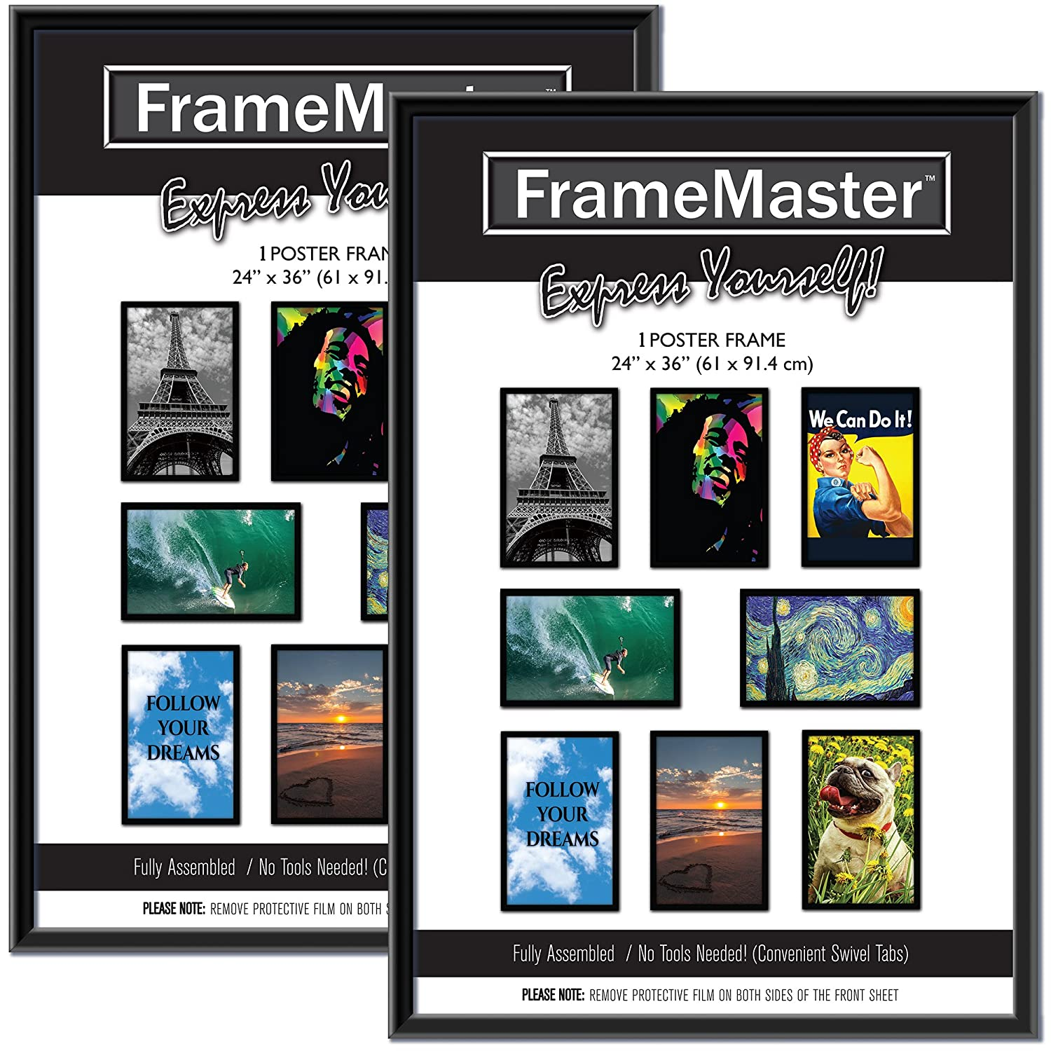 FrameMaster 24x36 Poster Frame (2 Pack, Black), Pre-Assembled Black Poster Frame 24 x 36, Sturdy Modern PVC Frame Design with MDF Backer Board for Wall Mounting, Set of 2