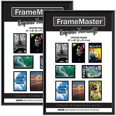 FrameMaster 24x36 Poster Frames (2-Pack); Pre-Assembled with Sturdy MDF Backer Board, Black
