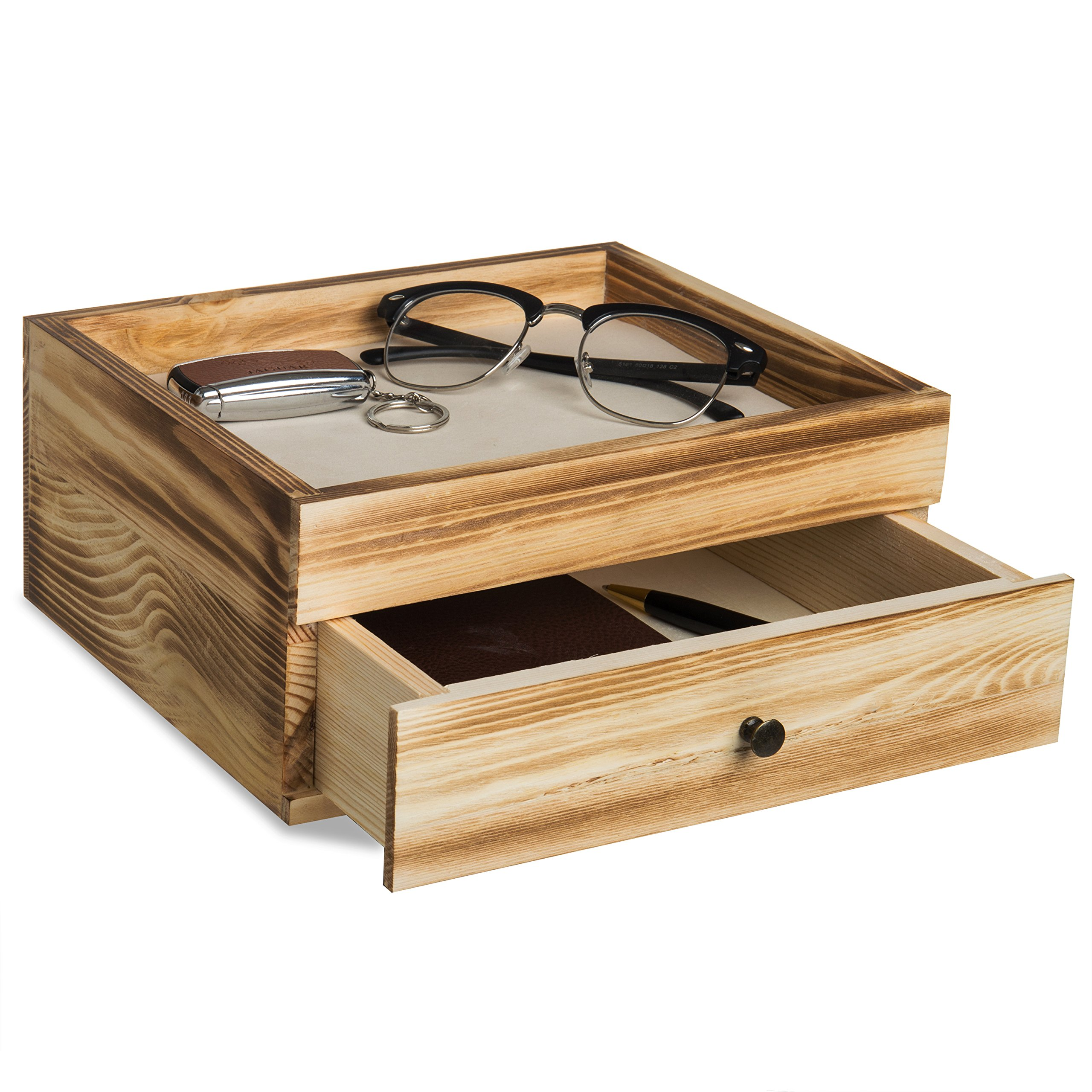 Rustic Brown Wood Desktop Organizer with Pullout Drawer, Tabletop Accessories Valet Tray